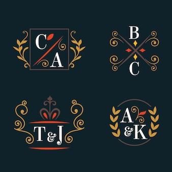Kolekcja logo kaligraficznych monogramów ślubnych