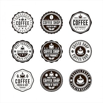 Kolekcja logo kawiarni odznaka