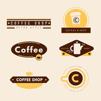 Kolekcja logo kawiarni retro