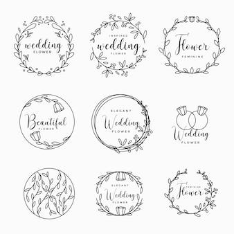 Kolekcja logo kobiecy kwiatowy ślub