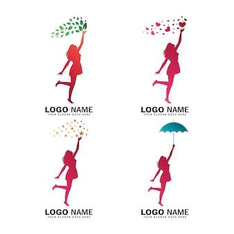 Kolekcja logo kobiet sięgająca po gwiazdę, miłość, liść i parasol