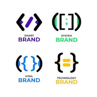 Kolekcja logo kodu płaskiej konstrukcji