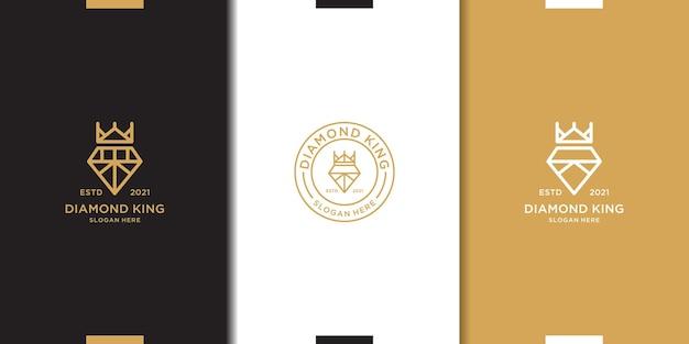 Kolekcja logo króla diamentów w stylu vintage