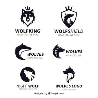Kolekcja logo króla wolfa