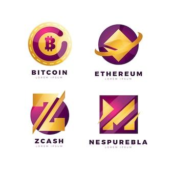Kolekcja Logo Kryptograficznego Gradientu Premium Wektorów