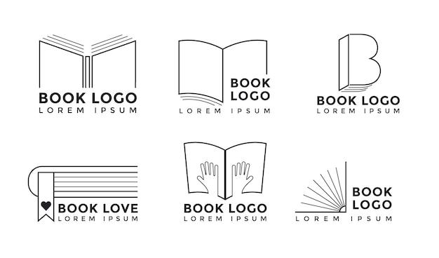 Kolekcja logo książki o płaskiej konstrukcji
