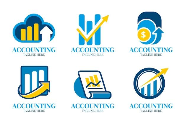Kolekcja logo księgowości w płaskiej konstrukcji