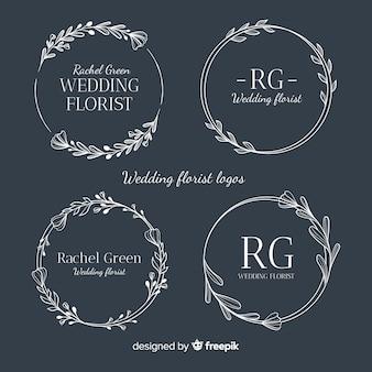 Kolekcja logo kwiaciarni ślubnych