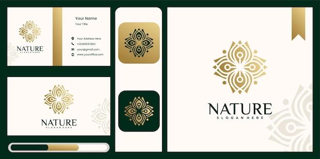 Kolekcja logo kwiat przyrody projektuje złoty zarys logo kwiatowy