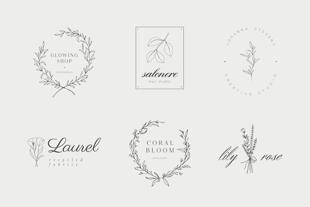 Kolekcja logo kwiatowych i botanicznych