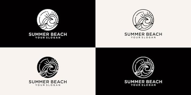 Kolekcja logo letniej plaży w stylu linii