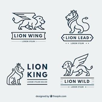 Kolekcja logo lion z nowoczesnym stylem