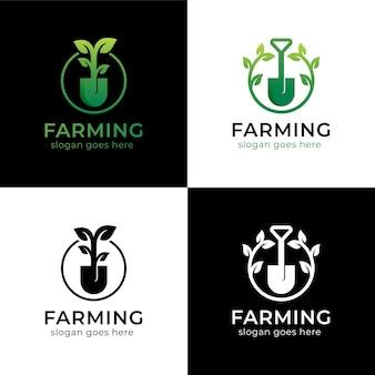 Kolekcja Logo Liścia łopaty Premium Wektorów