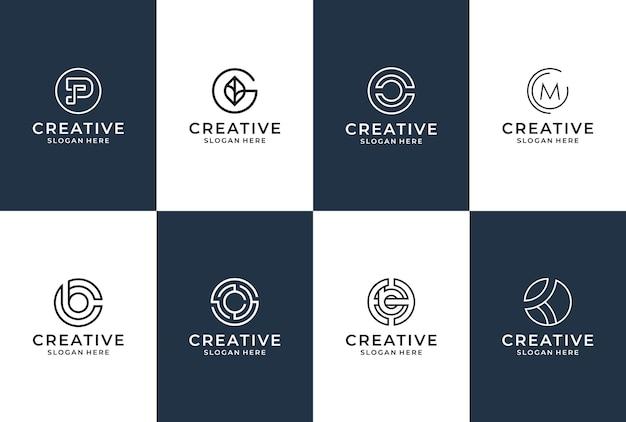 Kolekcja logo listowego w stylu liniowym.