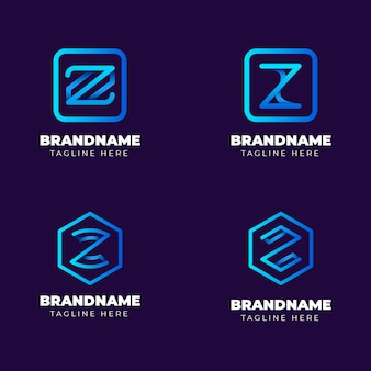 Kolekcja logo listu gradientu #z