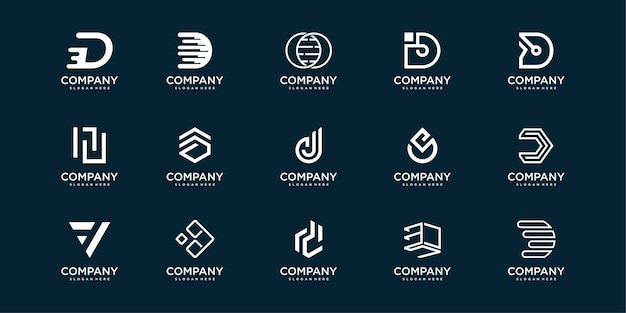 Kolekcja logo listu z początkowym d, nowoczesna koncepcja