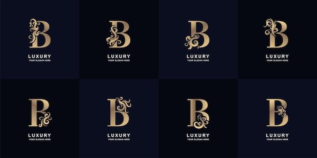 Kolekcja logo litery b z luksusowym ornamentem