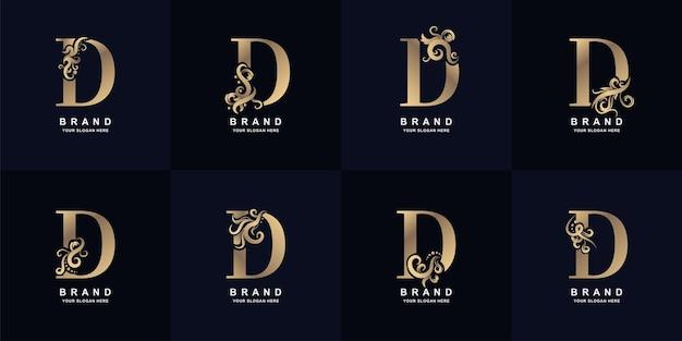 Kolekcja logo litery d z luksusowym ornamentem