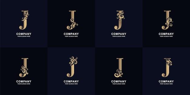 Kolekcja logo litery j z luksusowym ornamentem
