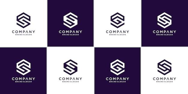 Kolekcja logo litery s z geometryczną koncepcją dla firmy lub osoby premium wektorów