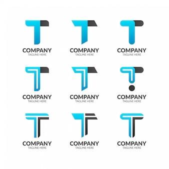 Kolekcja logo litery t.