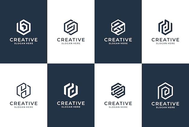Kolekcja logo litery w stylu sześciokąta. inspiracja biznesowa liternictwa.