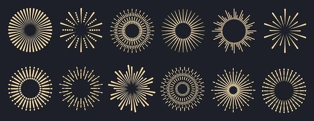 Kolekcja logo lub napisów sunburst