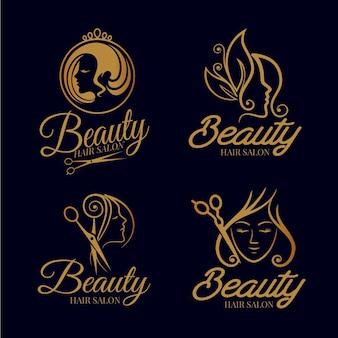 Kolekcja logo luksusowego salonu fryzjerskiego