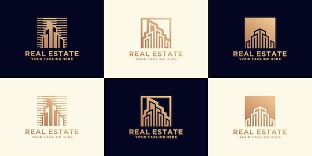 Kolekcja logo luksusowej miejskiej rezydencji