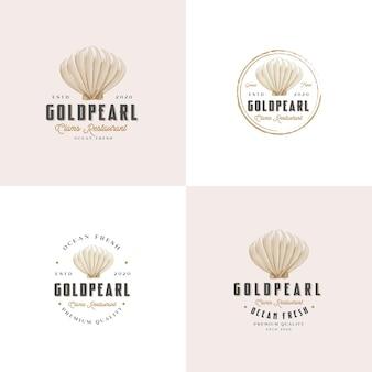 Kolekcja logo małży w stylu vintage
