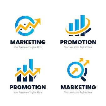 Kolekcja logo marketingowych o płaskiej konstrukcji