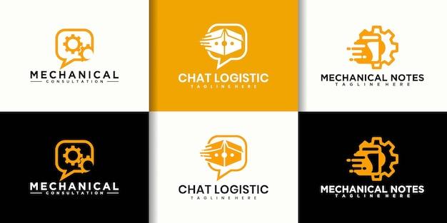 Kolekcja logo mechanika czatu, czat logistyczny,