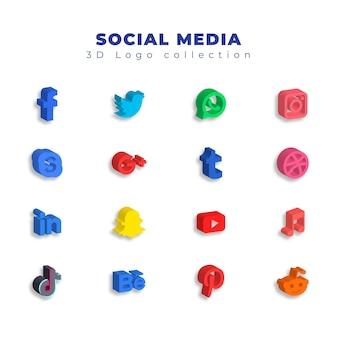 Kolekcja logo mediów społecznościowych 3d
