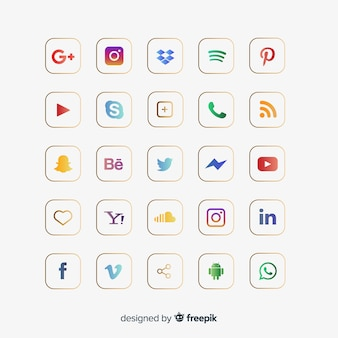 Kolekcja logo mediów społecznościowych