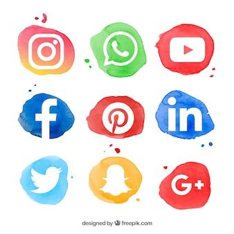 Kolekcja logo mediów społecznych w stylu akwareli