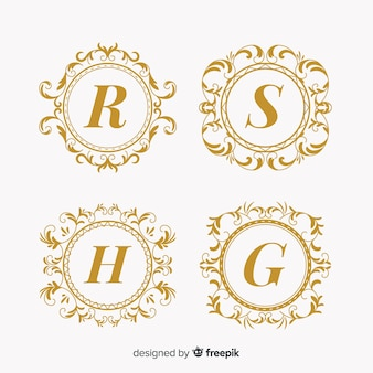 Kolekcja logo monogram ślubu
