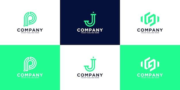 Kolekcja logo monogramu litery j