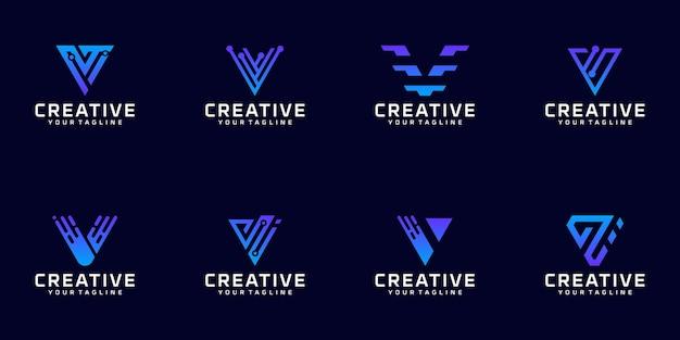 Kolekcja logo monogramu litery v