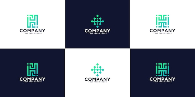 Kolekcja logo monogramu technologii litery h