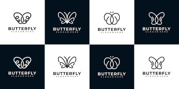 Kolekcja logo motyla w stylu grafiki liniowej