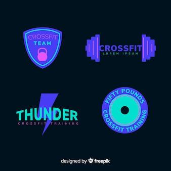 Kolekcja logo motywacyjne crossfit płaska konstrukcja