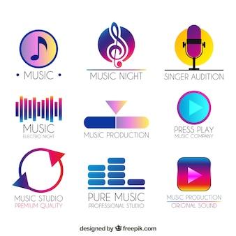Kolekcja logo muzyki w stylu gradientu