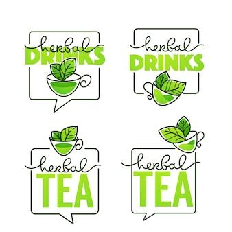 Kolekcja logo napojów ziołowych