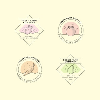 Kolekcja logo naturalnego biznesu w minimalistycznym stylu
