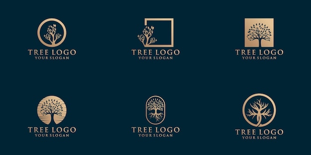 Kolekcja logo naturalnych drzew