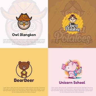 Kolekcja logo o płaskiej konstrukcji; logo sowy, logo ziemniaków java, logo niedźwiedzia i piwa oraz logo szkoły jednorożca.