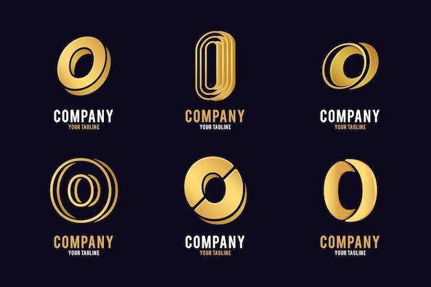 Kolekcja logo o złotym gradiencie