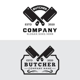 Kolekcja logo odznaka vintage retro rzeźnik