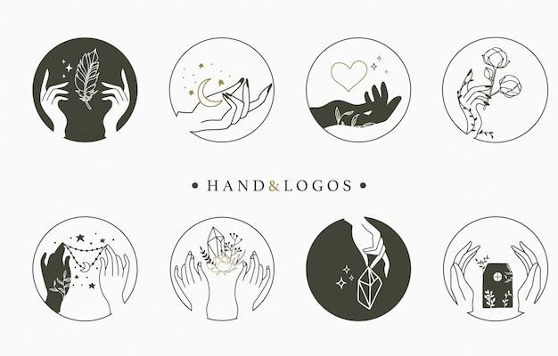 Kolekcja logo okultystycznego piękna z ręką, sercem, kwiatem, domem w kręgu.