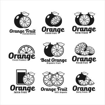 Kolekcja logo owoców soku pomarańczowego